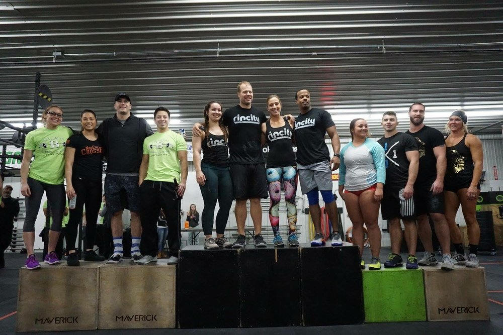 Top 3 RX teams (L to R: Crossfit Bettendorf, QCCF Motown, 1031 Fitness) at the 2017 Crossfit Bettendorf Invitational.   Photo Credit: Jay Strief