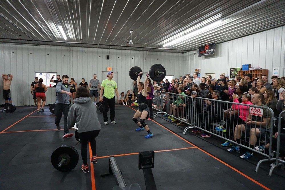 Team member Ellen dominating 'Heavy DT' WOD 4. Photo Credit: Jay Strief