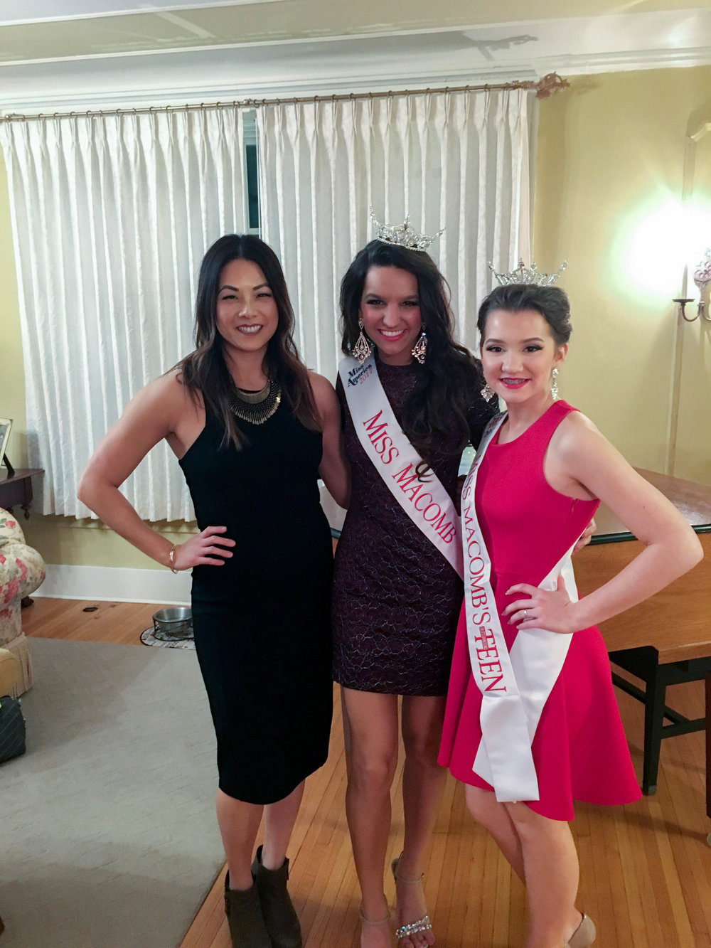 Post-pageant gathering with the new Miss Macomb representatives.