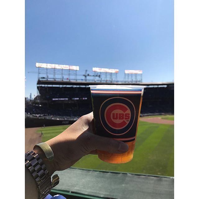 When it's still baseball season 🙌🏻🍺 #cubsgame #chicago