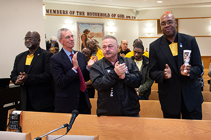 Supervising Peacemaker Pastor James Giles, Peacemakers Advisory Board Chair Rev. Dan Schifeling, Capt. Steve Nichols of BPD and Peacemaker Murray Holman