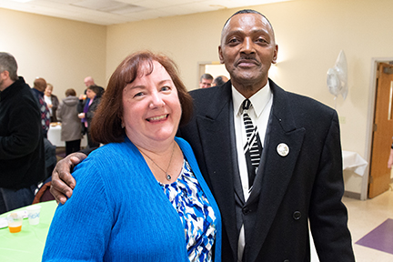 Vivian Waltz and SSJ Sr. Karen Center neighbor Gary Lofton