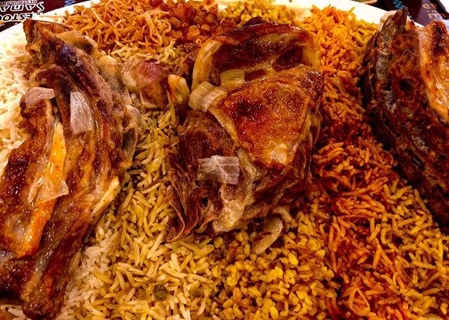Thee cuts of Lamb over 6 flavours of rice. So tense you eat it with a spoon. #iraqifood
