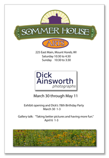 Join us to celebrate Dick's birthday and his wonderful photographs.  Treats, coffee and hot chocolate will be served between 1 and 3.  Please note that Dick will also be giving a gallery talk Sunday, April 6 from 1 to 3.  Given all of his experience it should be a great talk.