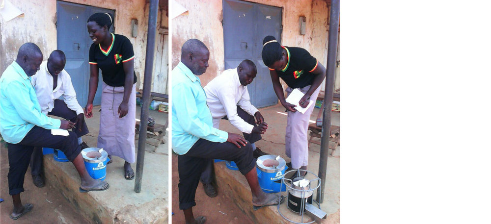 Micro-entrepreneur selling a SmartHome cookstove in Eastern Uganda.