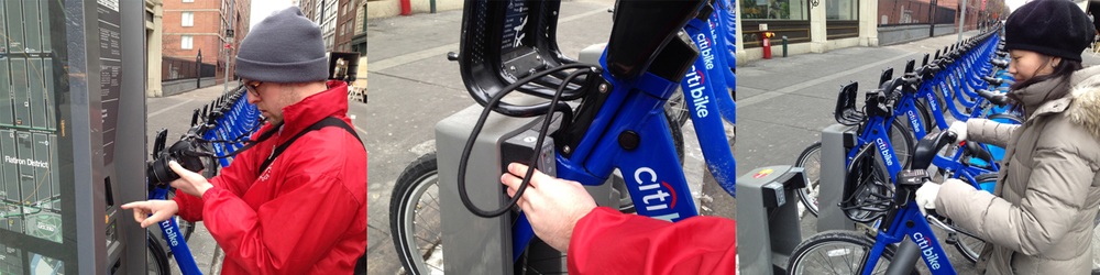 Researching at the Citi Bike station