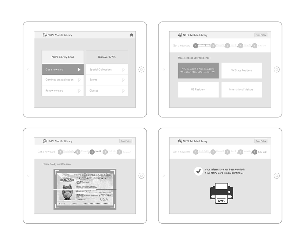Wireframes: getting a library card