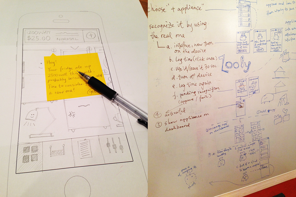 Paper prototyping and user flow skeching