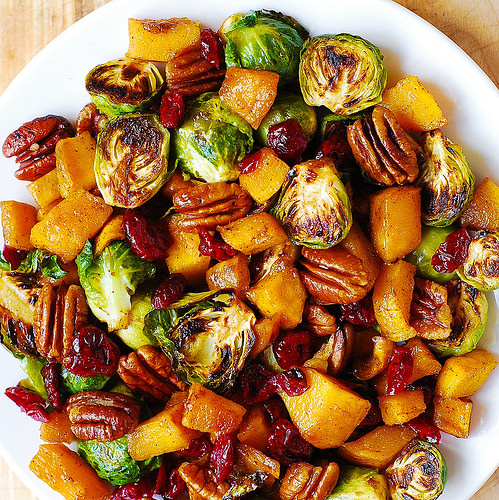 Brussel Sprouts, Butternut Squash, Pecans & Cranberries