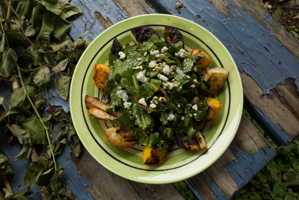 Grilled Peaches, Dandelion Greens