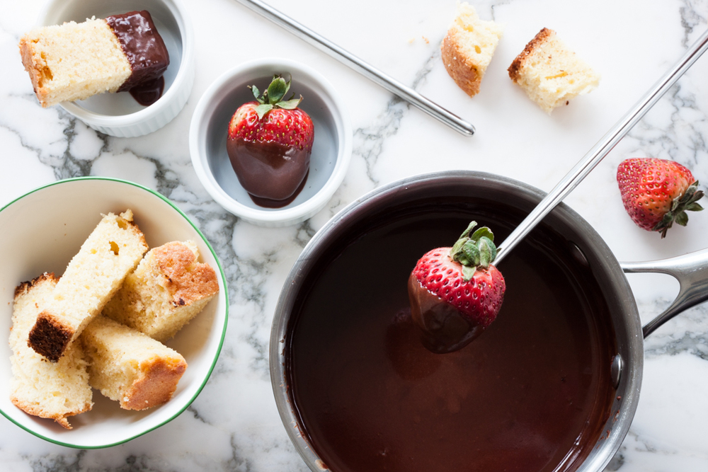 Chocolate Fondue with Strawberries and Pound Cake