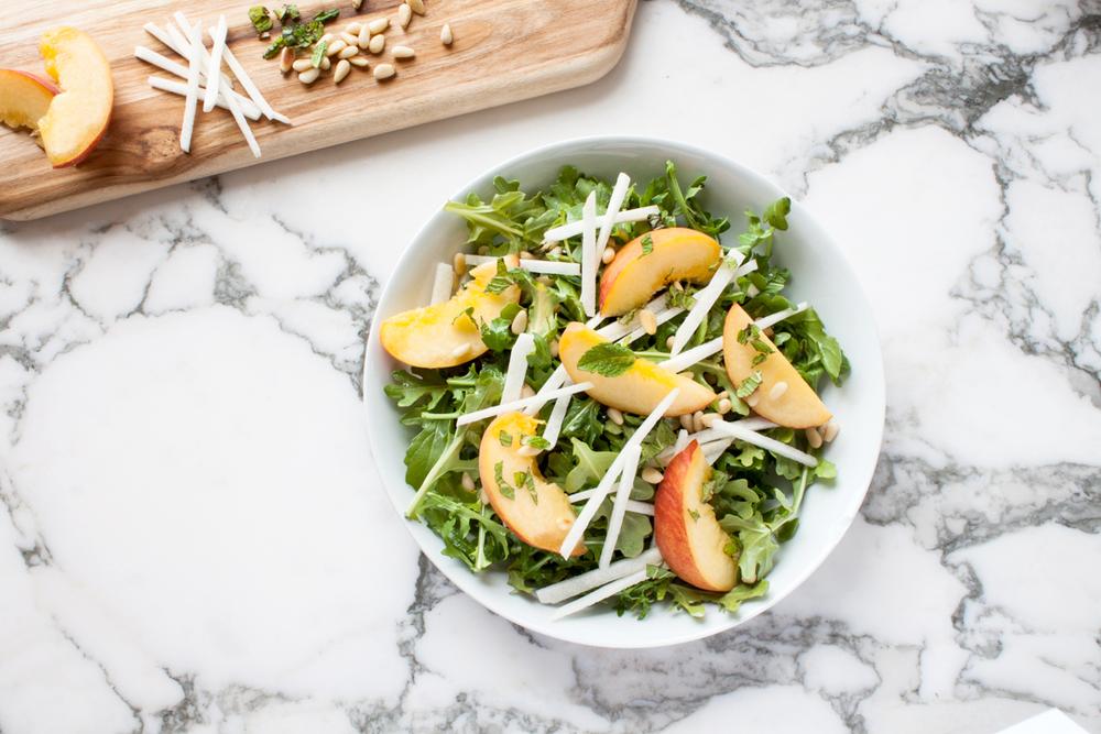 Peach and Jicama Salad with Arugula and Toasted Pine Nuts
