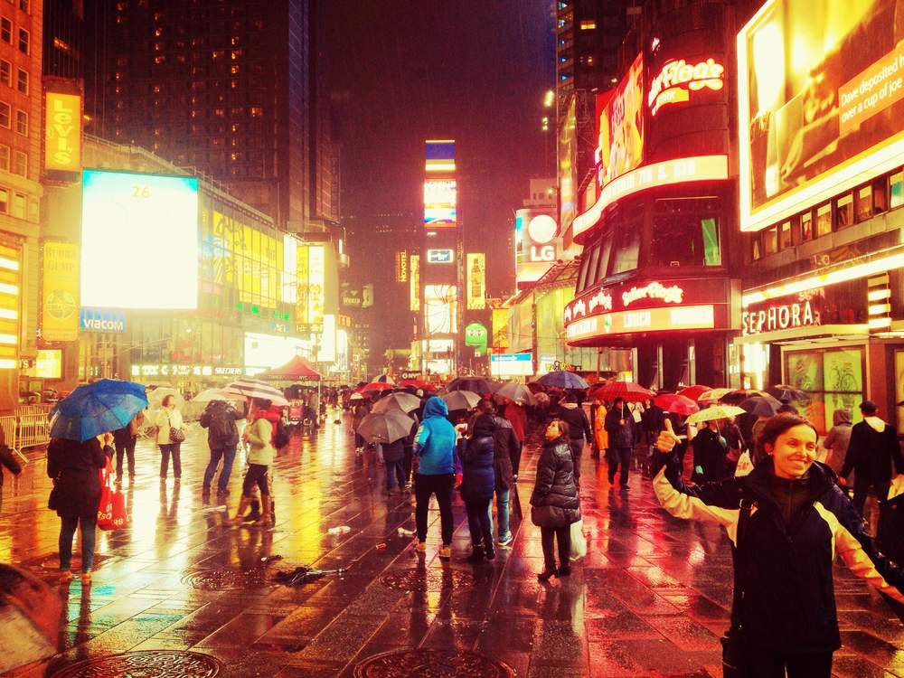 Times Square on a rainy evening