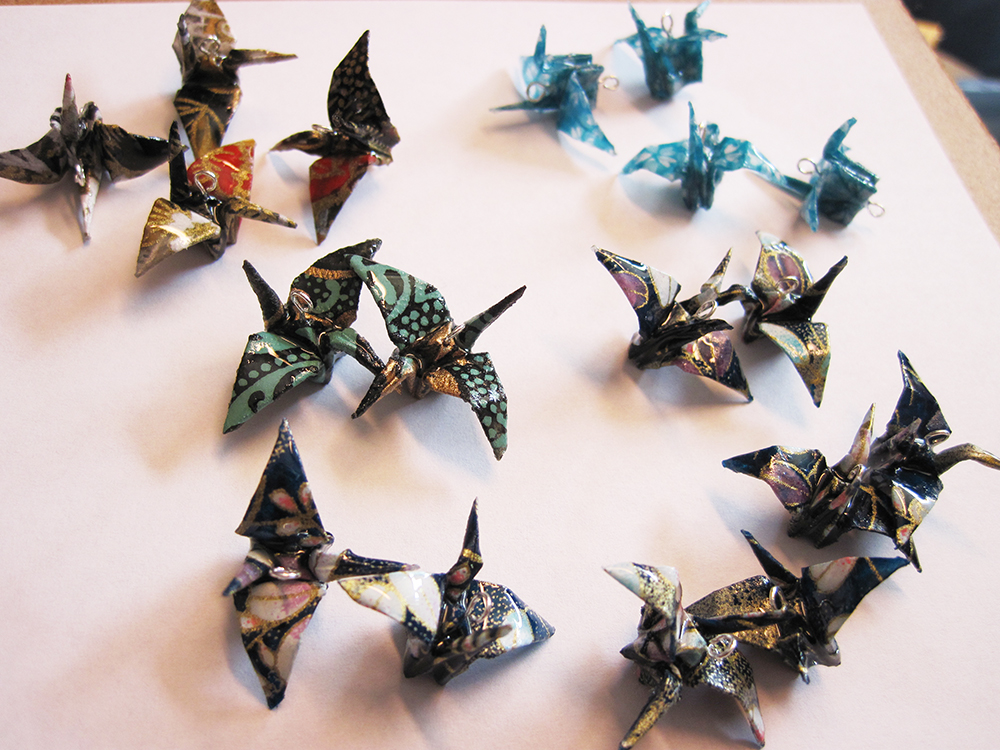 Here's the 1st batch of origami plastic coated cranes. So far, so good!