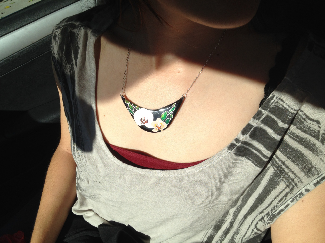 After lots of patience and hours, my orchid cloisonne necklace is done!