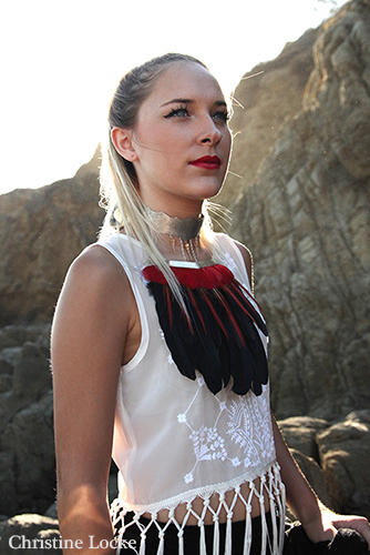 Kayla being fantastic and modeling my Huitzilopochtli choker inspired by Aztec culture. Made earlier in 2014.