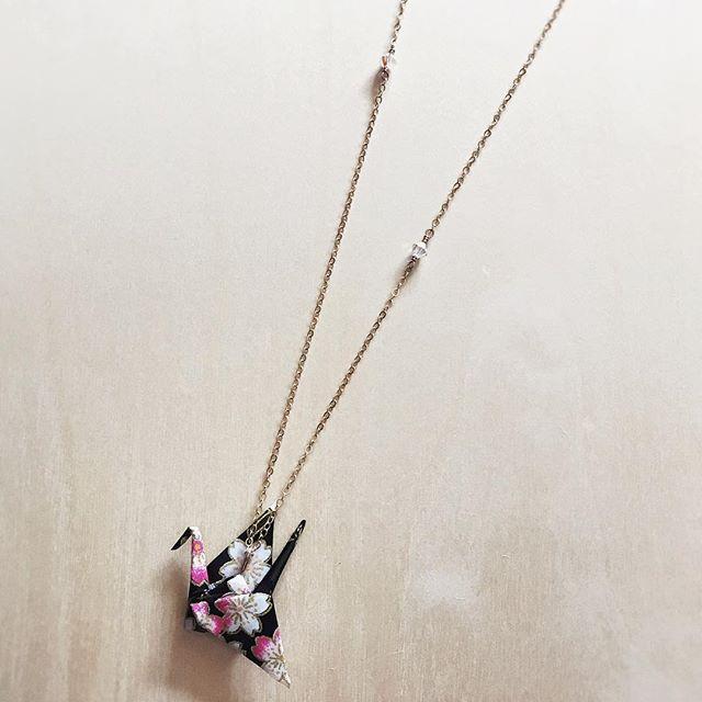 Love how the cherry blossoms came through on this origami crane custom order. 🌸 #clockeworkandlace #customorder #handmadejewelry