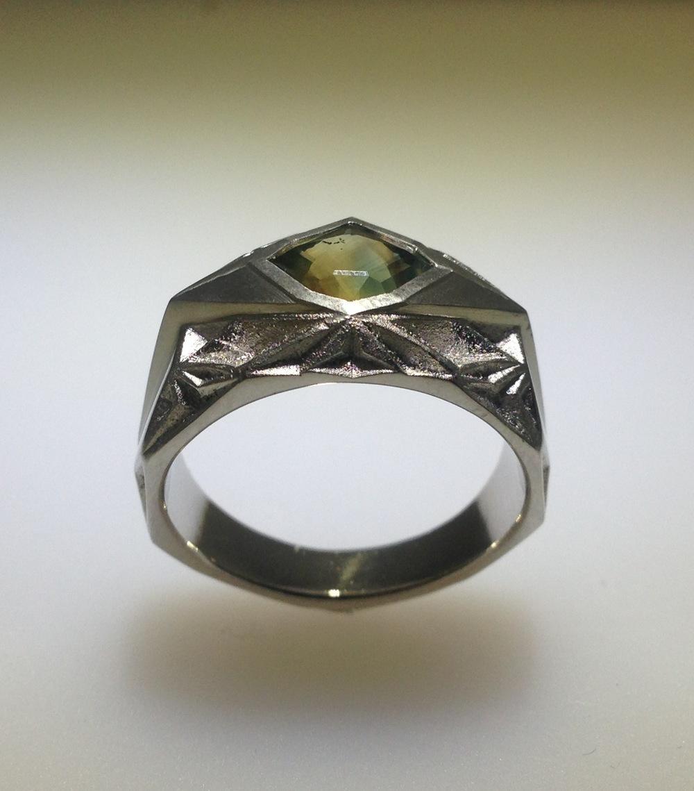 Bespoke  Platinum Custom cut stone by Jean Noel Soni  Madagascar Sapphire Mens ring.jpg