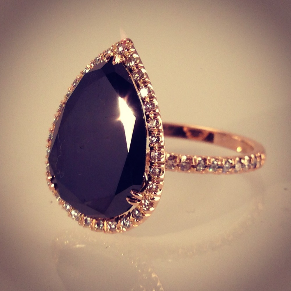 Bespoke Pear shaped black diamond with white diamonds in rose gold .jpg
