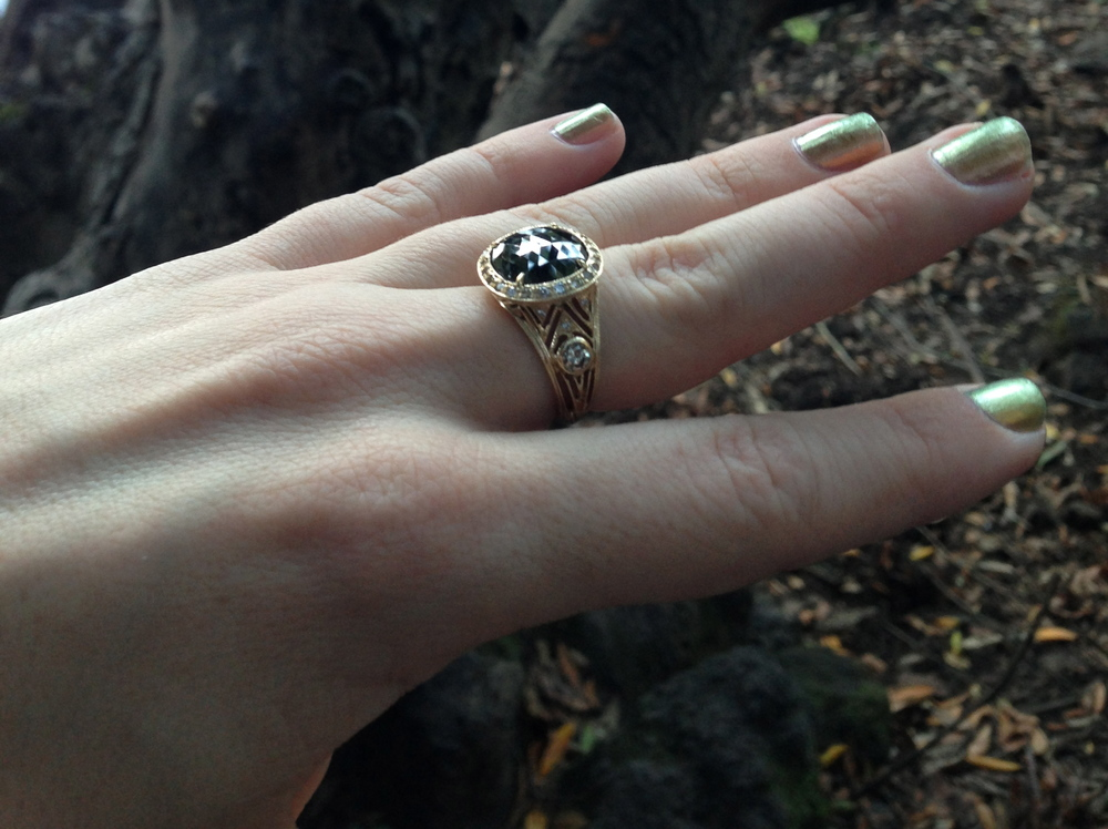 5.2ct Black Diamond Ring, Available for Purchase
