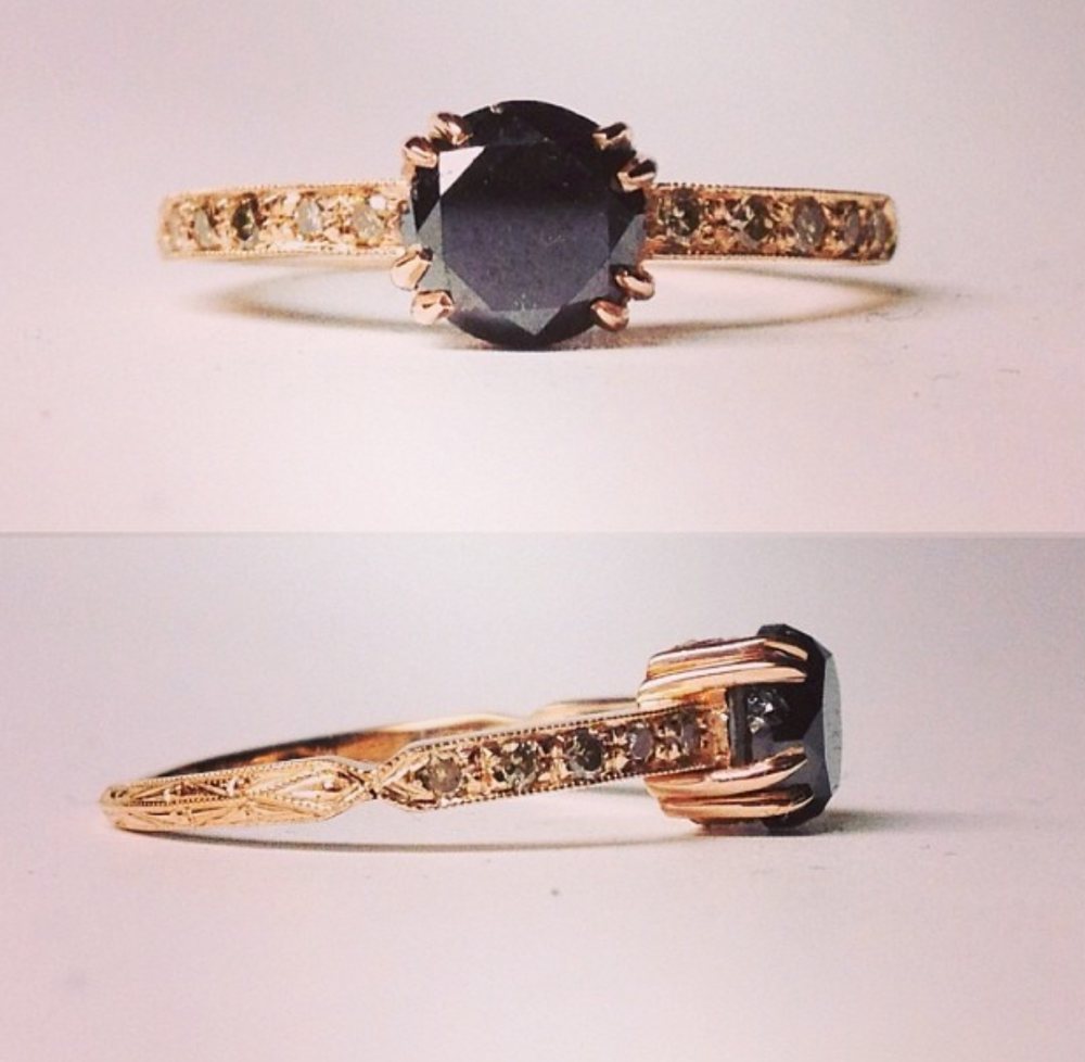Rose Gold 1ct Black Diamond Ring 2700.png