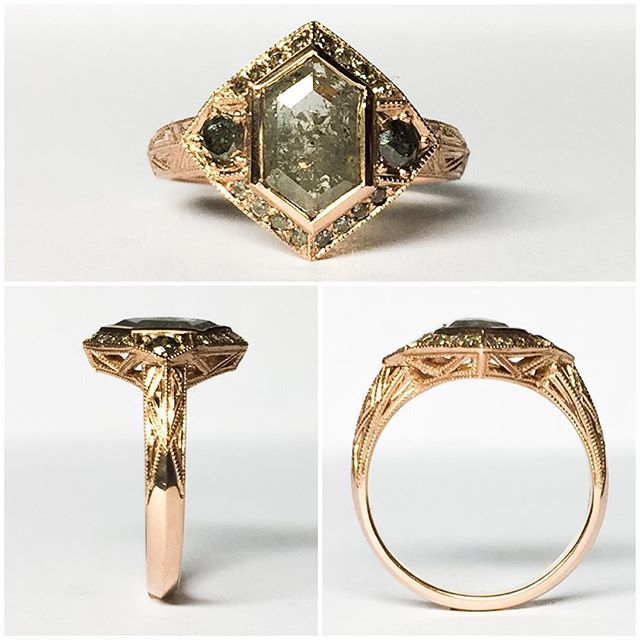 #bespoke #engagementring made for two rad #arizona folks @bribridge and @slippeofficial congratulations to you both! #rosegold #engagement #ring with #diamond