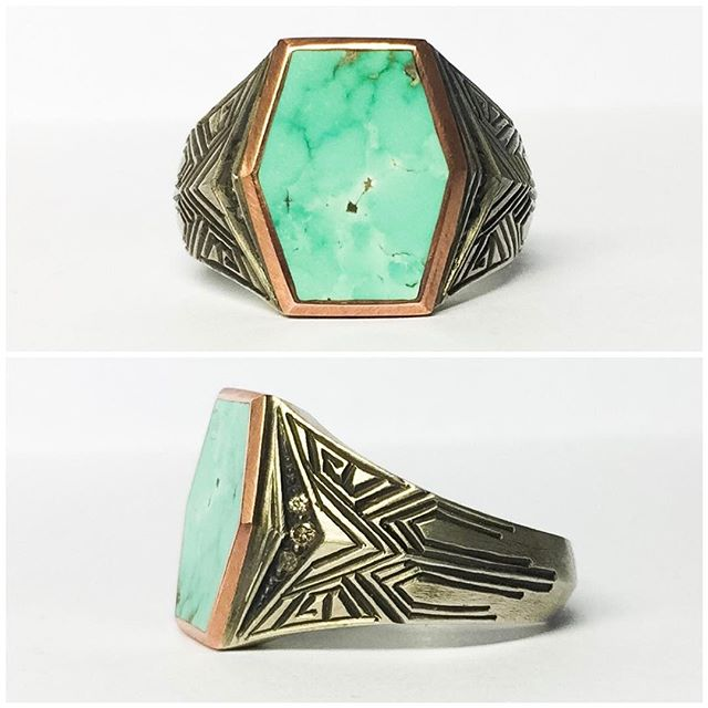 Rad #bespoke #ring for our amazing cuz's @kellyhfait husband #silver #diamond #turquoise and #copper ⚡