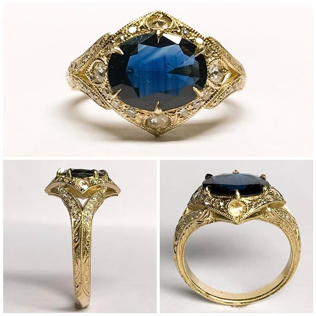 Huge congratulations and thank you to @twiggyboe and @cuallimusic #bespoke #gold #engagement #ring with #sapphire and #diamond you guys are awesome! ⚡