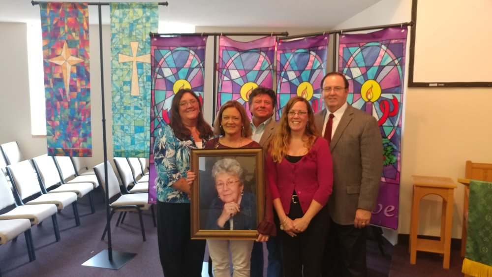 Our saint, Betty Kreyer, and her family at the dedication of her memorial banners. 11/05/2017