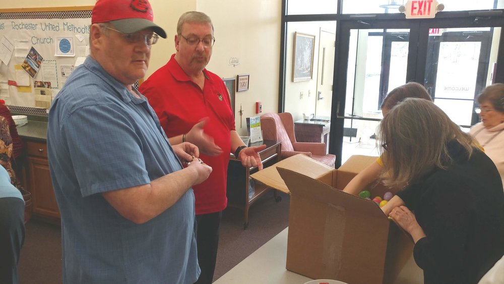 Ray, Jim, Bev, and Marilynn filling some Easter Eggs for our  Easter Egg Hunt for Children with Special Needs and their family , Saturday, April 13, 2019 from 10:00 am to 12:00 noon!