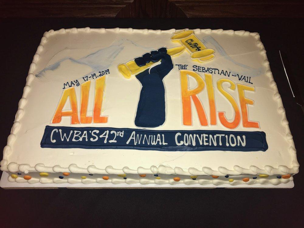 CWBA 2019 cake with logo