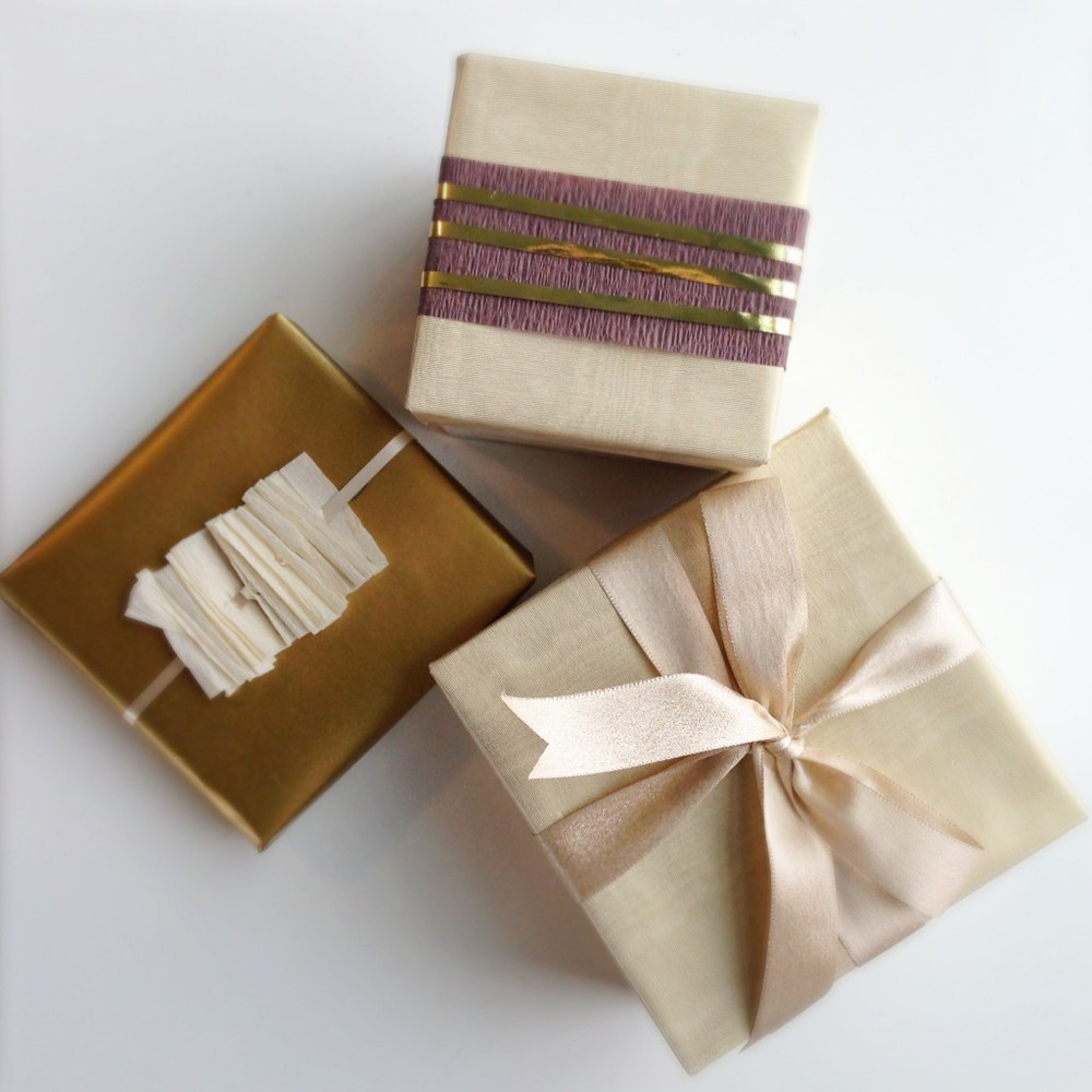 Gold and crepe paper gift wrap inspired by Vanilla Quince Santal