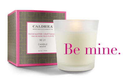 Be mine with Caldrea Rosewater Driftwood Candle