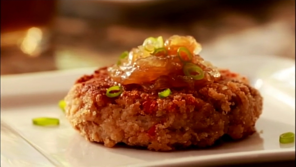 BLACK EYED PEA FRITTERS WITH ONION JAM