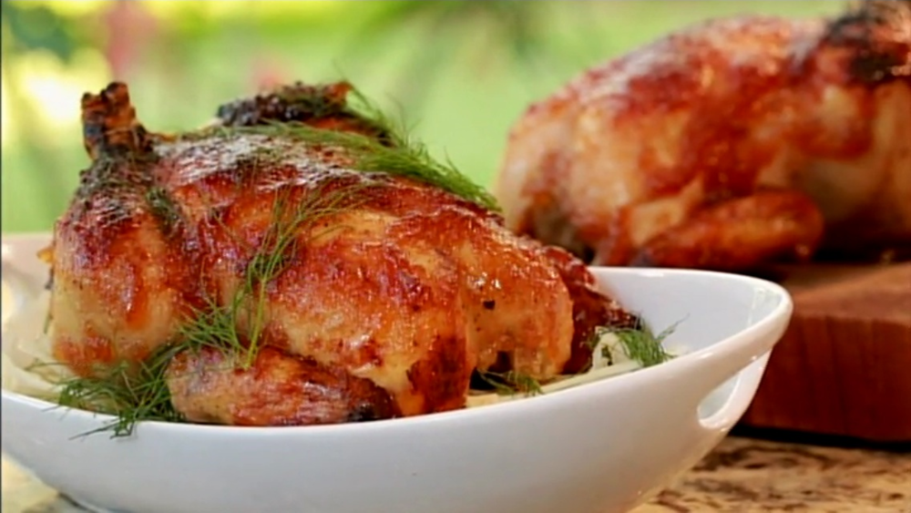 ROASTED CHICKEN WITH PEAR BUTTER & BOURBON GLAZE
