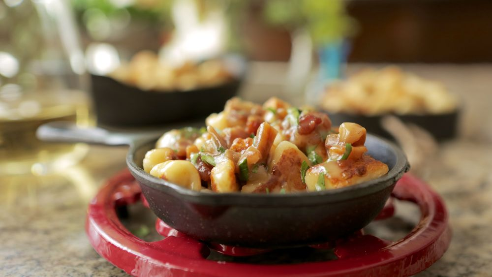 GOAT CHEESE GNOCCHI WITH BACON, DATES & KENTUCKY WINE SAUCE