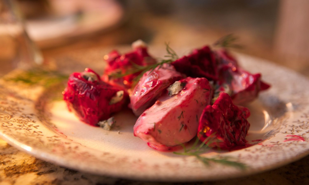 BEET & POTATO SALAD WITH BLUE CHEESE DRESSING & DILL