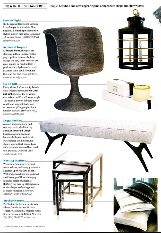 New England Home Magazine   |   Fall 2013   |   Finn Leg Diamond Top Bench