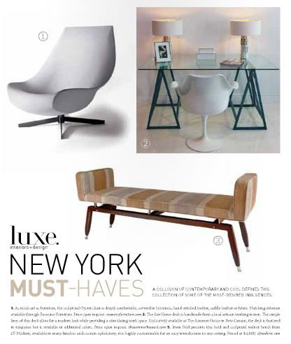 LUXE Interiors + Design Magazine   |   Winter 2011   |   Armed Formation Bench