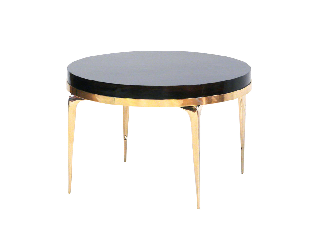 BRASS BANDED ROUND STILETTO SIDE TABLE