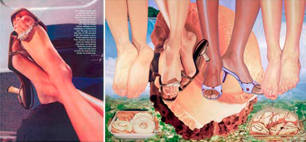 "Left, the Andrea Blanch photo that appeared in the August 2000 issue of Allure, right, Jeff Koons, ""Niagara"" / source: http://hyperallergic.com/23589/judging-appropriation-art/"
