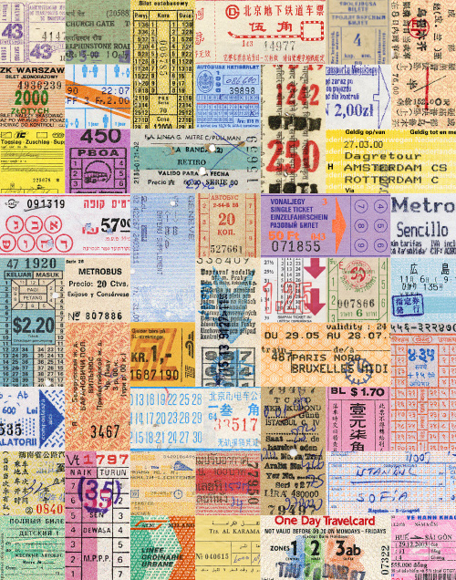 A collage of international transit tickets from my collection, print available in my etsy shop. ©2015 Troy Litten
