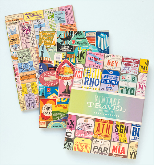 "Mockups of my new ""Vintage Travel Journal Set"" idea featuring hand-drawn travel ephemera. ©2015 Troy Litten"