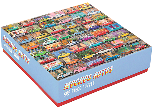 "My ""Muchos Autos 500 Piece Puzzle"" features photos of colorful cars on the streets on Latin America and custom hand-drawn typography on the package. ©2015 Troy Litten"
