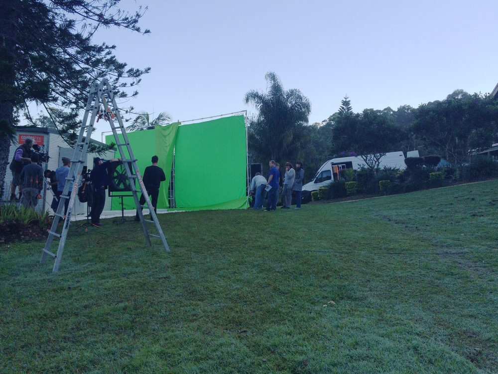 Two green screens were setup for the exterior shots of the donga. Needing the light to be overcast the crew race to setup before the morning sun hits at 7am.