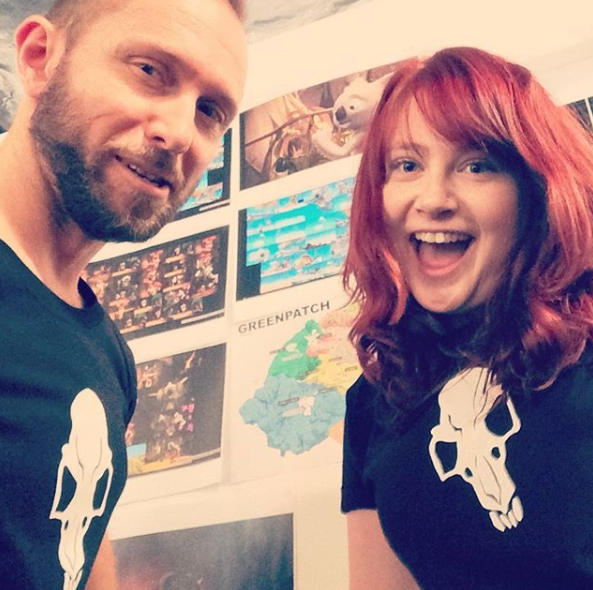 with Pip Francis, Production Manager, in 'Jacko' crew T-shirts..