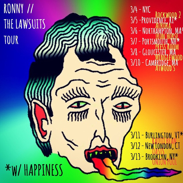 @rongallo tour with @thelawsuits and @happiness_band starts wednesday! greater northeast. ron will be backed by the lawsuits for this tour. gooooo