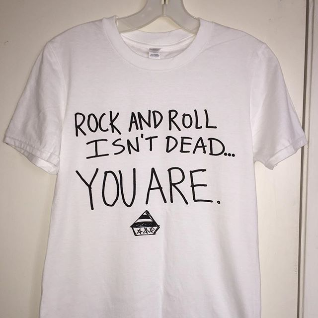 ROCK AND ROLL ISN'T DEAD... YOU ARE!  new ADR shirts available now. at shows. online at http://americandiamondrecordings.com