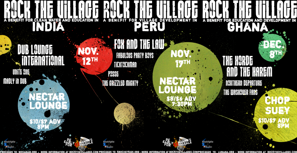 Rock the Village Concert Series     3 concerts, each benefiting non-profit organizations  The Mohanam Cultural Cente r (India), Krochet Kids international  (Peru), and  Lumana Microfinance  (Ghana).    Raised $1500 for charity.