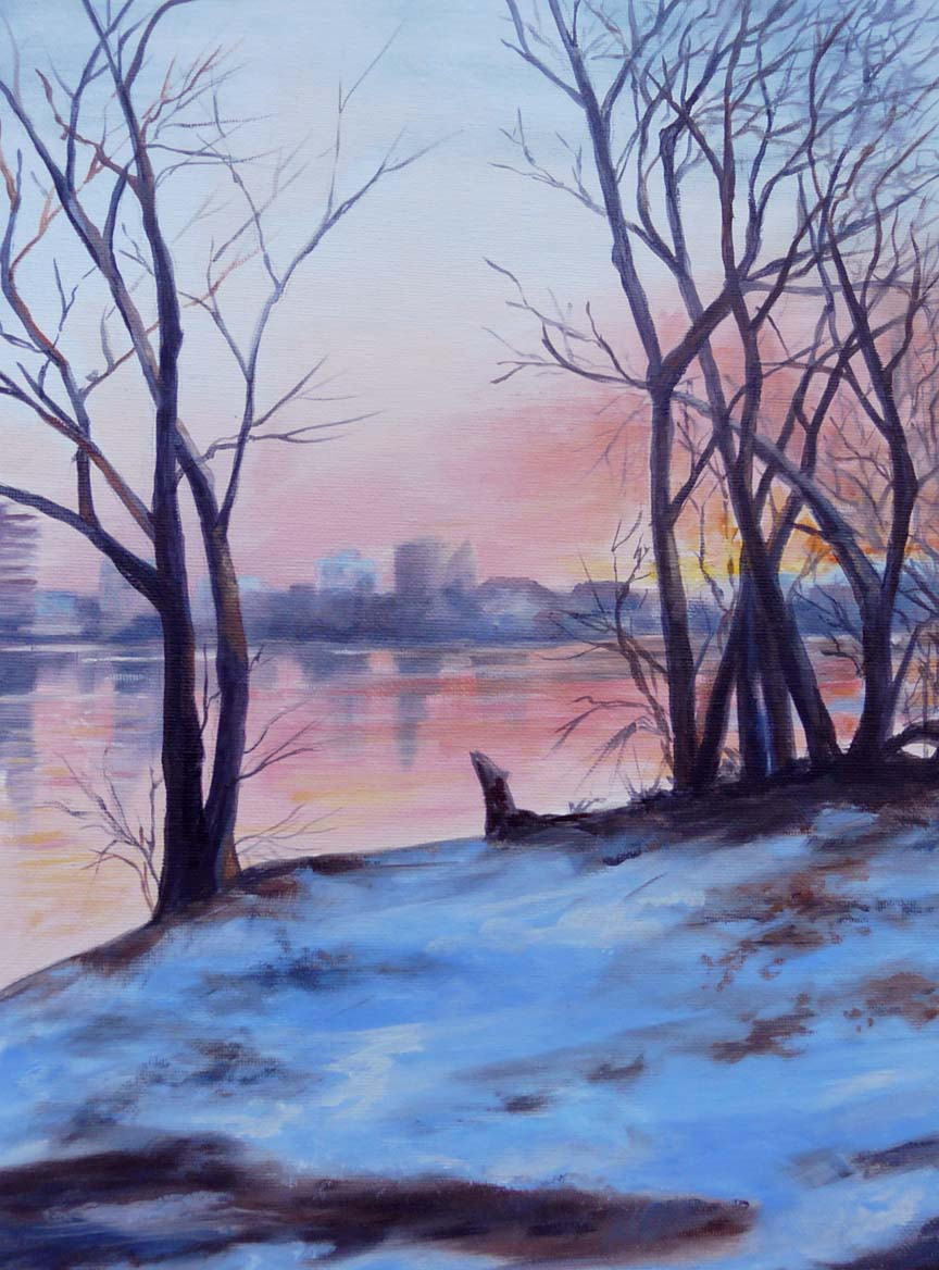 """Sunrise on River Road"""
